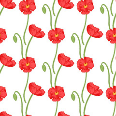 Poppy seamless pattern. Red poppies with green leaves on white background. Can be uset for textile, wallpapers, prints and web design. Vector illustration