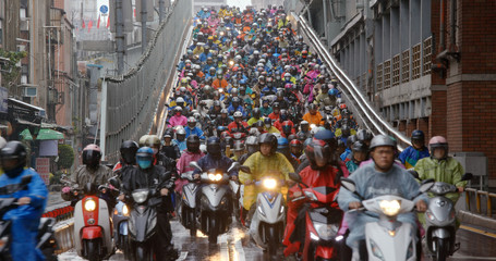 Crowded of scooter in taipei city