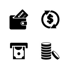 Money, Coins and Dollar. Simple Related Vector Icons