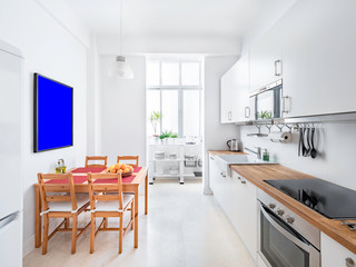 Indoor mockup of a stylish bright kitchen with white cabinets. Spacious modern interior with wooden table, chairs, picture frame and big windows
