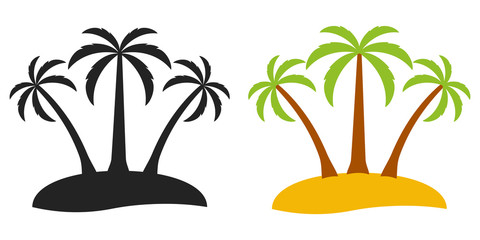 Palm tree desert island, vector logo for tourism three palm trees on an island, flat comic cartoon style