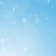 Color abstract background of blue sky with bokeh and stars. Simple flat vector illustration.