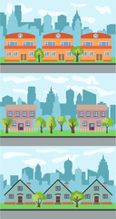 illustrations of city street with cartoon houses