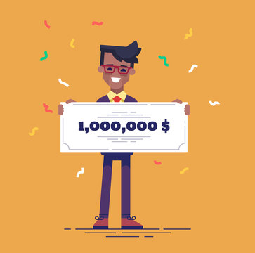 Happy african american man in formal suit is holding a big bank check for a million dollars. Lottery gain concept. Vector illustration in flat design.