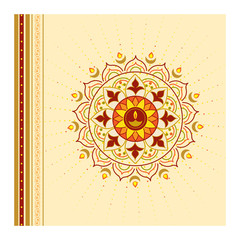 Rangoli background with lamps