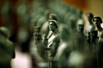 """The Actor"" statuettes are pictured during a media event on the production of the statuettes for the 25th annual Screen Actors Guild Awards at American Fine Arts Foundry in Burbank"