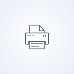 Printer, vector best gray line icon