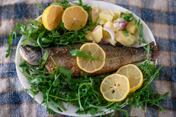 Grilled fish served with potato, arugula and lemon