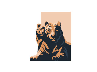 A tigress with her tiger cub