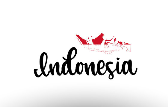 Indonesia country big text with flag inside map concept logo