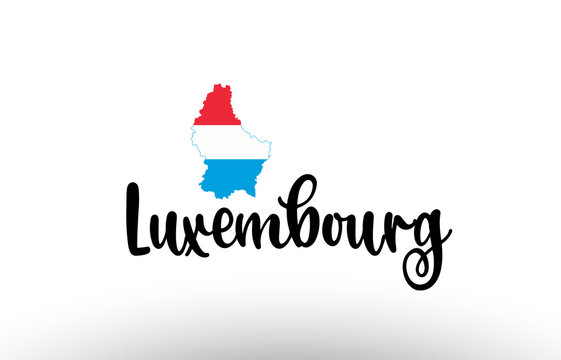 Luxembourg country big text with flag inside map concept logo
