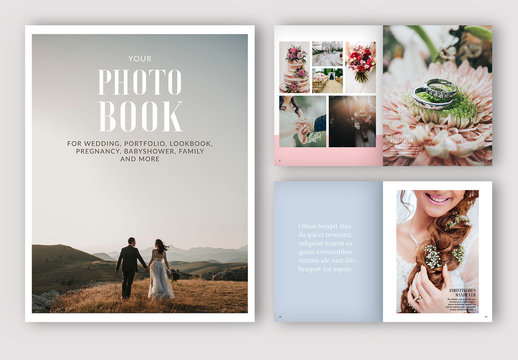 Photo Album Layout with Pink, Blue, and Beige Accents