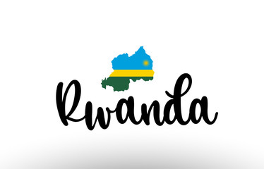 Rwanda country big text with flag inside map concept logo