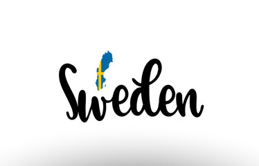 Sweden country big text with flag inside map concept logo