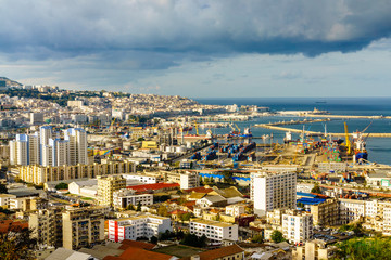 Poster Algerije Algiers city sea port view.