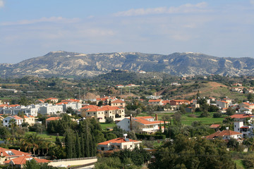 Panoramic view of a mediterranean village Pyrgos, Limassol district, Cyprus at the end of December