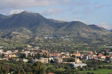 Panoramic view of a mediterranean village Pyrgos, Limassol district, Cyprus in January