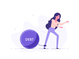 A woman trying to go with a huge weight of debt chained to his leg. Credit slavery concept. Flat style vector illustration.