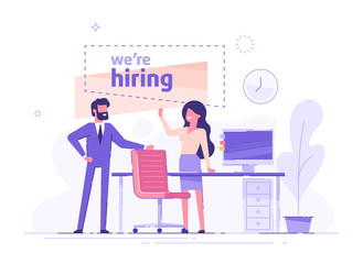 Businessman and woman are hiring new staff. Head hunters. Vacant place in an office. Workplace with a computer in the office. Flat vector illustration.
