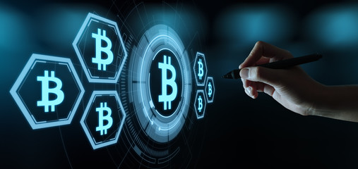 Bitcoin Cryptocurrency Digital Bit Coin BTC Currency Technology Business Internet Concept