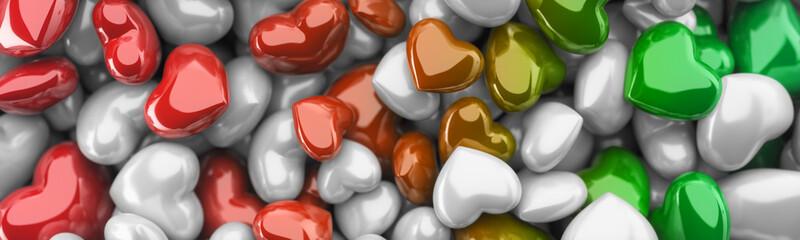 Czerwone, zielone i białe serca