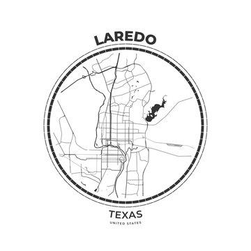 T-shirt map badge of Laredo, Texas