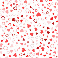 Valentines Day seamless pattern design. Red hand drawn hearts on white background. Love concept. Template for business card, website, print etc. Vector illustration