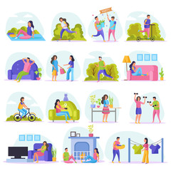 Lazy Weekends People Flat Icon Set