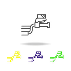 motorcycle steering colored icons. Element of motorbike for mobile concept and web apps illustration. Thin line icon for website design and app developmenton white background