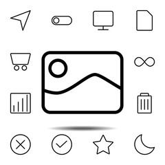 picture icon. Simple thin line, outline vector element of minimalistic, web icons set for UI and UX, website or mobile application