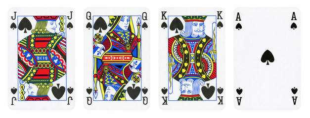 Spade Suit Playing Cards, Set include King, Queen, Jack and Ace - isolated on white