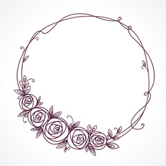 Floral frame. Abstract line elegant element for wedding , birthday, valentines day and other romantic design. Wreath of rose flowers.