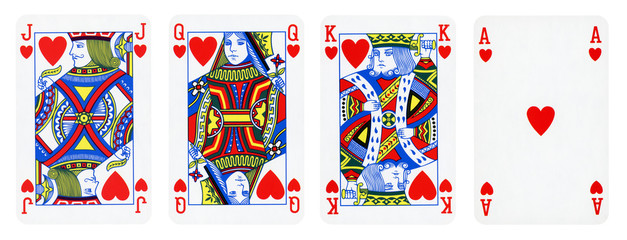 Hearts Suit Playing Cards, Set include King, Queen, Jack and Ace - isolated on white