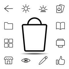 Shopping bag icon. Simple thin line, outline vector element of minimalistic, web icons set for UI and UX, website or mobile application
