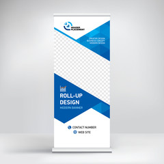 Roll-up banner design, background for placing advertising information. Banner for exhibitions, presentations, conferences, seminars, modern abstract style for the promotion of goods and services