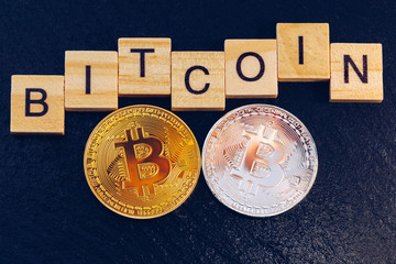 Bitcoin cryptocurrency (crypto currency). Silver Bitcoin and golden Bitcoin symbol. Bitcoin (BTC) cryptocurrency.