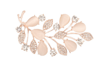 Wall Mural - golden brooch twig with moonstones and diamonds isolated on white