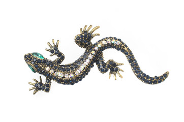 Wall Mural - gold brooch lizard with gems isolated on white