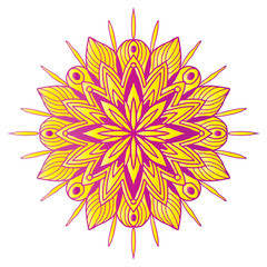 Ornamental Floral Mandala. Carpet ornament pattern. Interior mandala print in yellow and pink color. Bright Logo for tropical summer design.