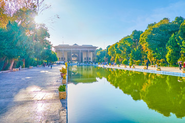 The large pool of Chehel Satoun Palace in Isfahan, Iran