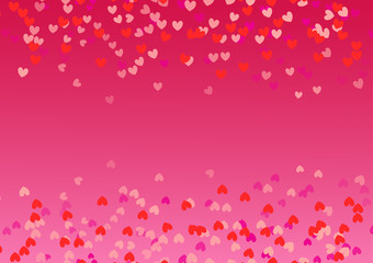 Red pink background with scattered hearts of different sizes. Frame with free copy space. Vector illustration that can be used during holidays or on card, invitation. Flying border with love elements.