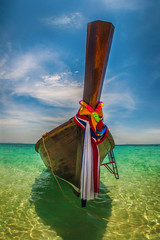 Foto op Plexiglas Asia land Tropical holidays vacation trips. Long tail boat on exotic beach