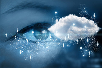 An eye is watching at the networking cloud.