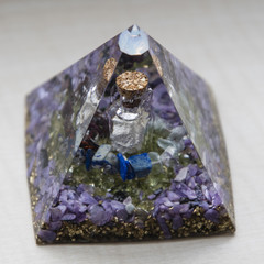 Orgonite - pyramid with a vial and stones inside.