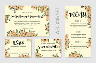Wedding Invitation set, floral invite, thank you, rsvp card design. Eucalyptus, forest fern, herbs, eucalyptus, branches boxwood, buxus, brunia, botanical green and flowers eustoma cream. Vector