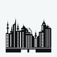 Black flat city silhouette for banner design.Vector Illustration . City landscape silhouette.