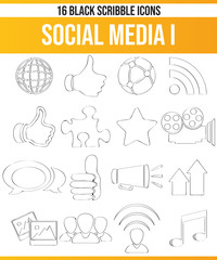 Scribble Black Icon Set Social Media I