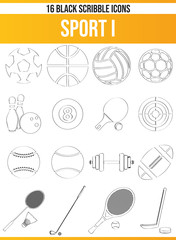Scribble Black Icon Set Sport I