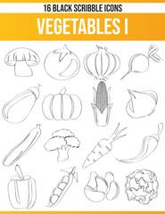 Scribble Black Icon Set Vegetables I