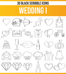 Scribble Black Icon Set Wedding I
